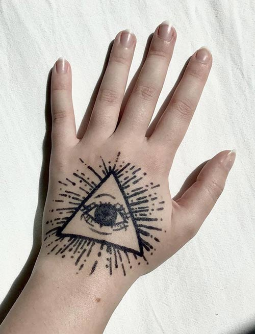 Hand Simple Illuminati Tattoo