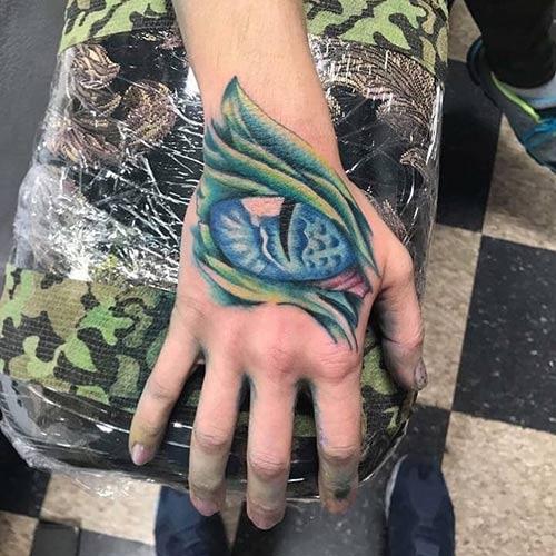 Dragon Eye Tattoo On Hand