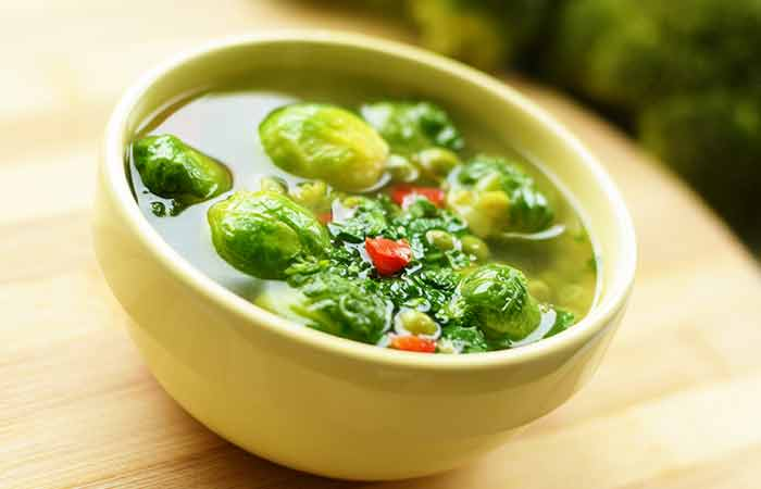 Diet Recipes For Weight Loss - Lentil Soup With Brussels Sprouts