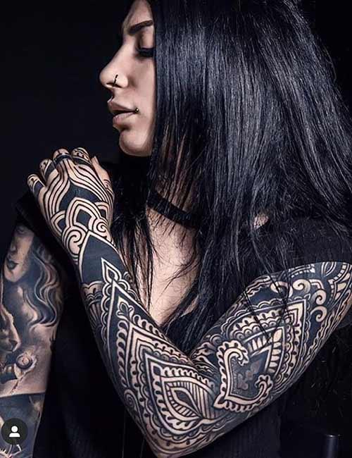Armored Sleeve Tribal Tattoo