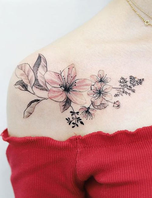 Cherry Blossom Tattoo Designs On Shoulder