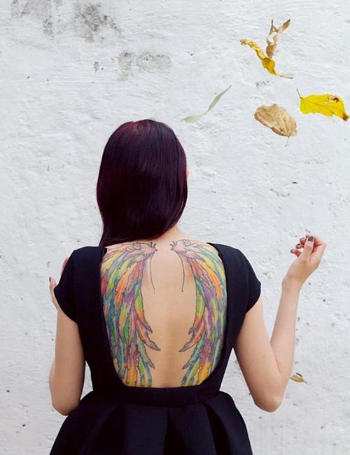 Colorful Angel Wings On Back
