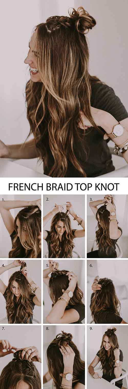 Double French Braid Top Knot