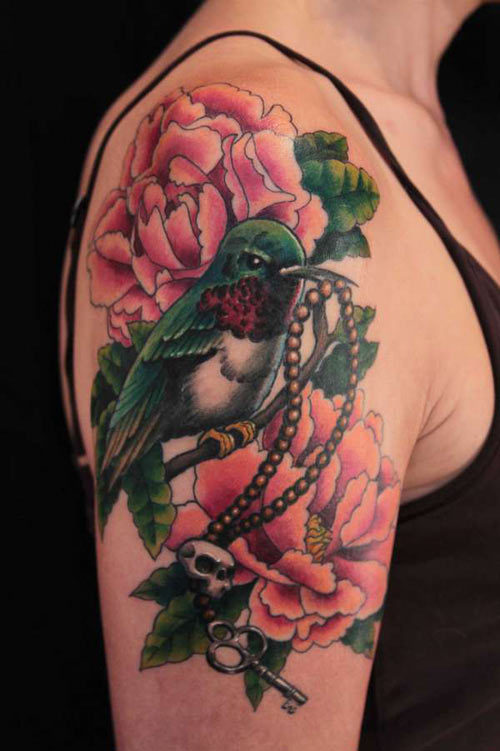 Humming bird sleeve tattoo