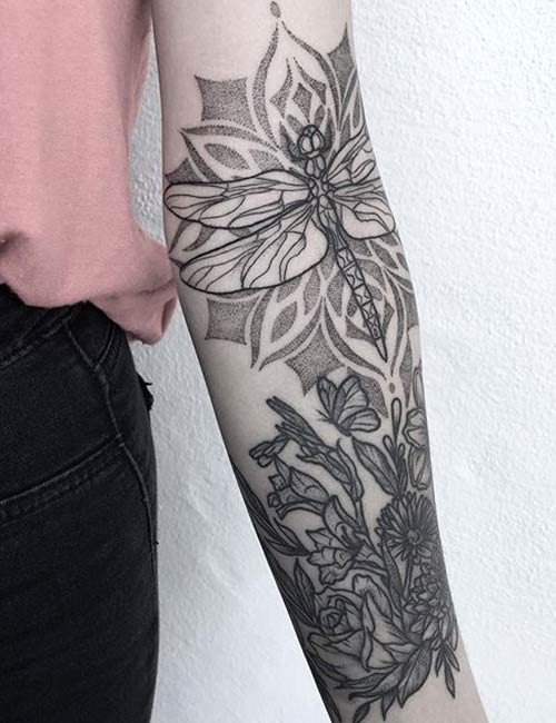 Flower With Butterfly Illustration Tattoo On Sleeve