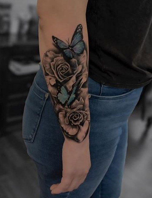 Rose Tattoo Design And Their Meanings On Forearm
