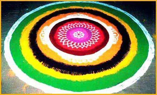 Round spiral shapes rangoli
