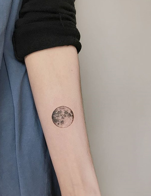 Simple Moon Tattoo Design On Forearm
