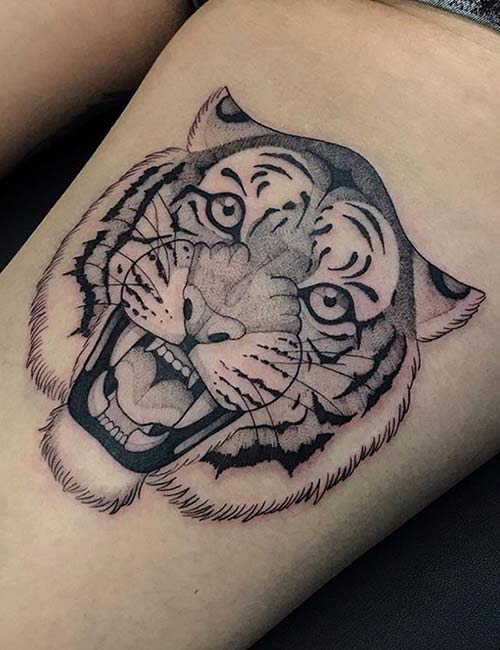 Tiger Tattoos On Thigh