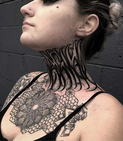 Tribal Neck Tattoo