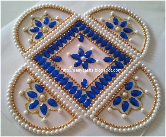 Top 40 Kundan Rangoli Designs To Try In 40 Simple Decorative Rangoli Designs With Stones And Kundans