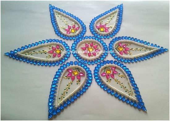 blue kundan rangoli