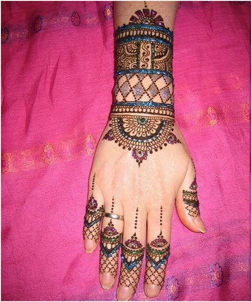 colourful mehndi design