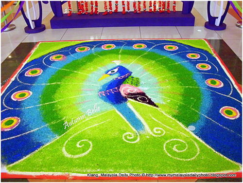 design of peacock rangoli