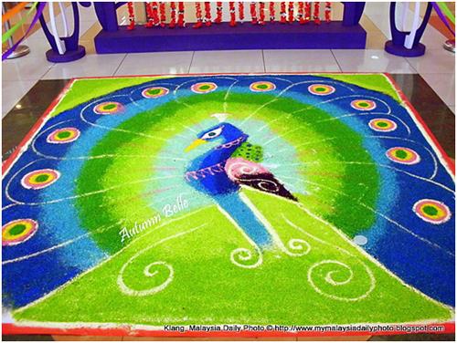design of peacock rangoli