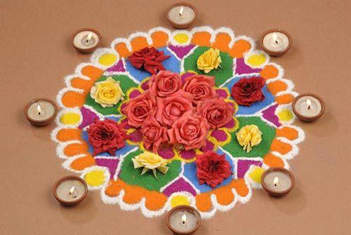 diyas and roses rangoli