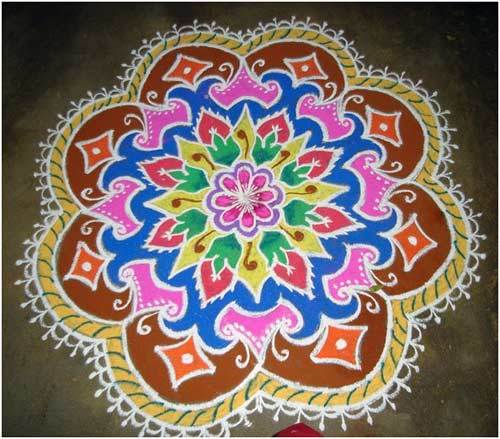 flower shaped rangoli