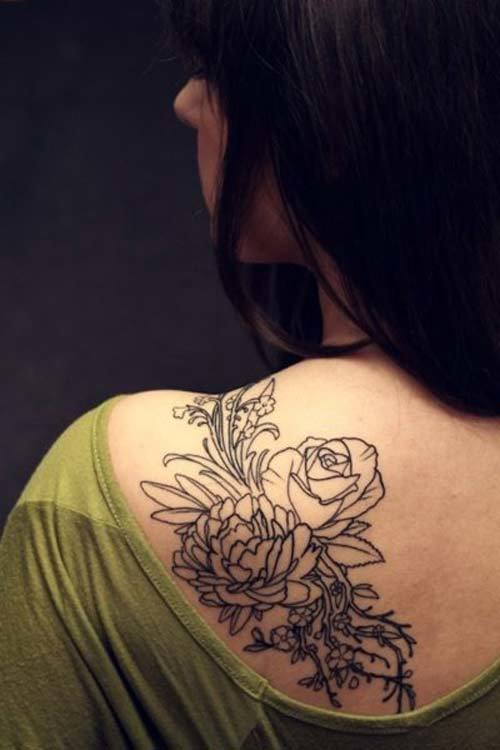 White Power Tattoos Women Flower shoulder tattoo designs