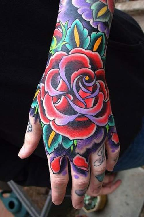 flower tattoos for hands