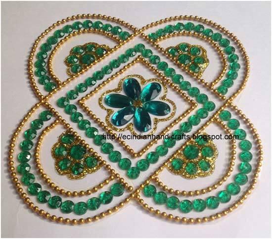 green kundan rangoli