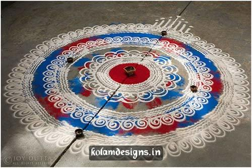 less colour rangoli design
