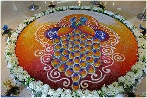 peacock rangoli festival