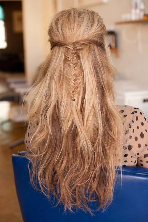 Messy Long Hair with a Back Braid: