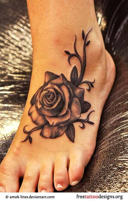 White Power Tattoos Women Rose foot tattoos. women have