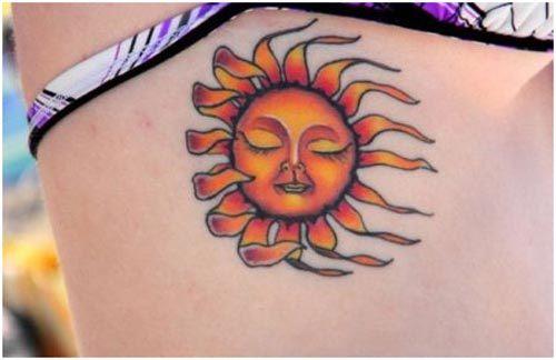 sun hand tattoo