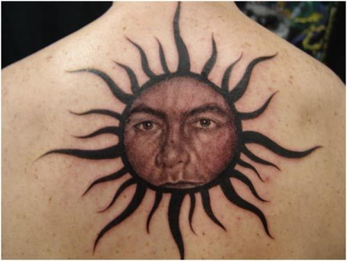 sun tattoo back neck