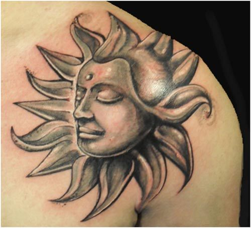 sun tattoo design for body