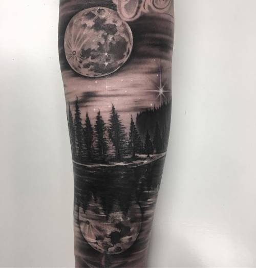 Moon And Water Tattoo Design