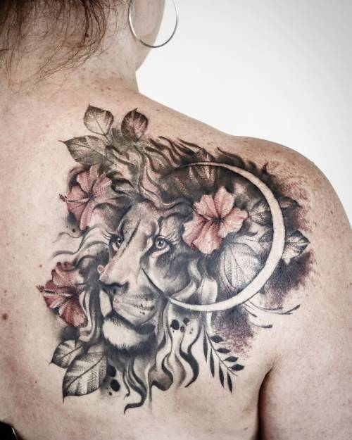 Lion And Moon Tattoo On Shoulder