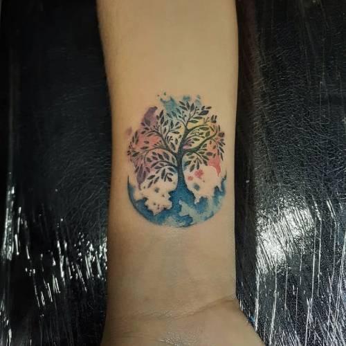Watercolor Moon And Tree Tattoo On Wrist