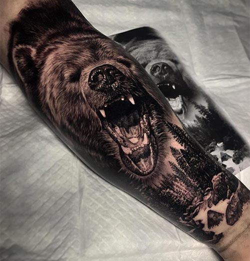 3D Bear Tattoo Design On The Arm