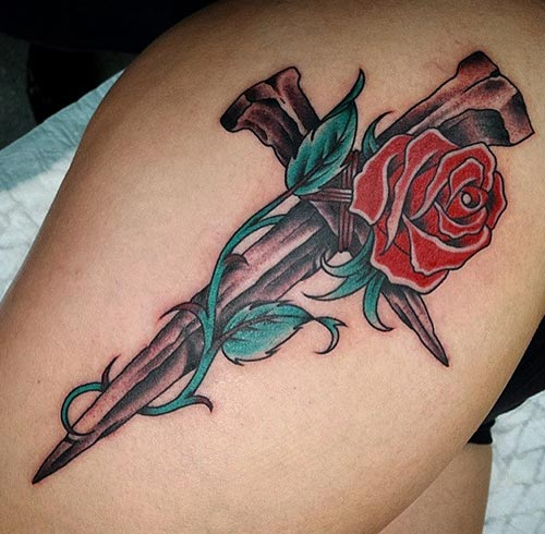 3D Celtic Rose Tattoo On Leg