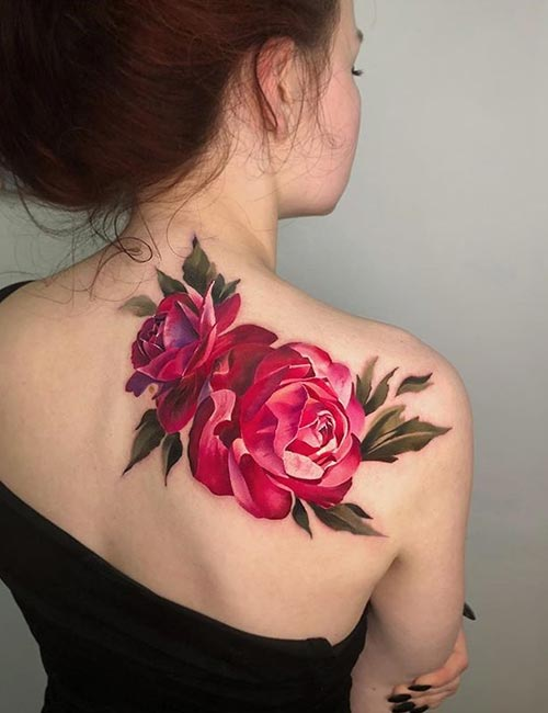 3D Flower Tattoo Design On Back