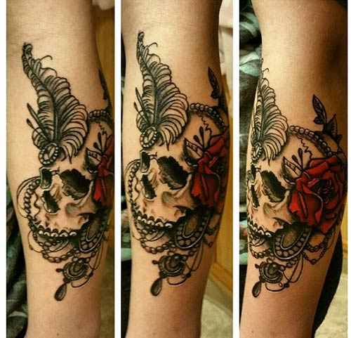 3D Rose And Skull Sleeve Tattoo