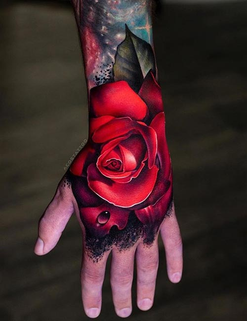 3D Roses With Rainwater Tattoo