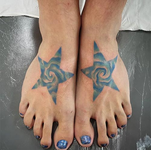 3D Star Tattoo Design On Foot