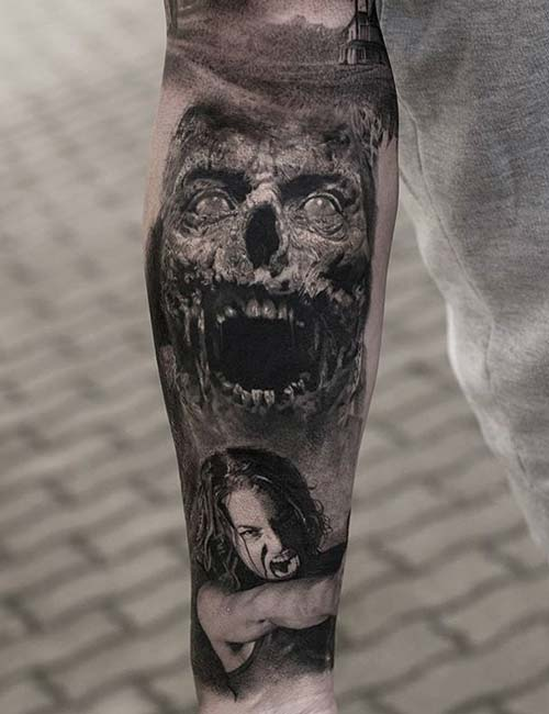 3D Zombie Sleeve Tattoo Design