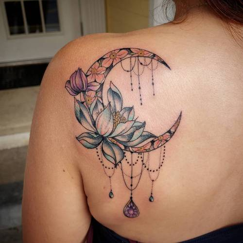 Lotus Moon Tattoo On Back Of Shoulder
