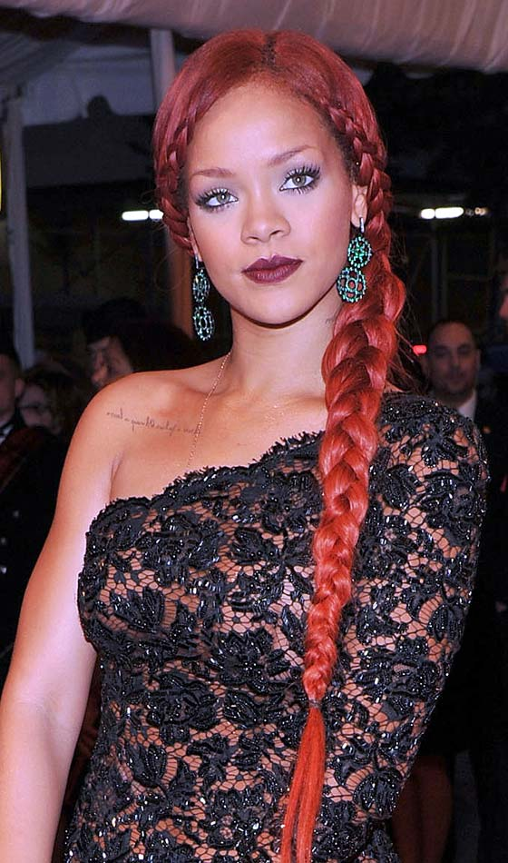 Plaited Rihanna Style Side braids Hairstyle