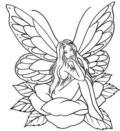 A fairy sitting on a flower tattoo