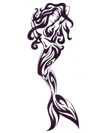 A tribal mermaid tattoo