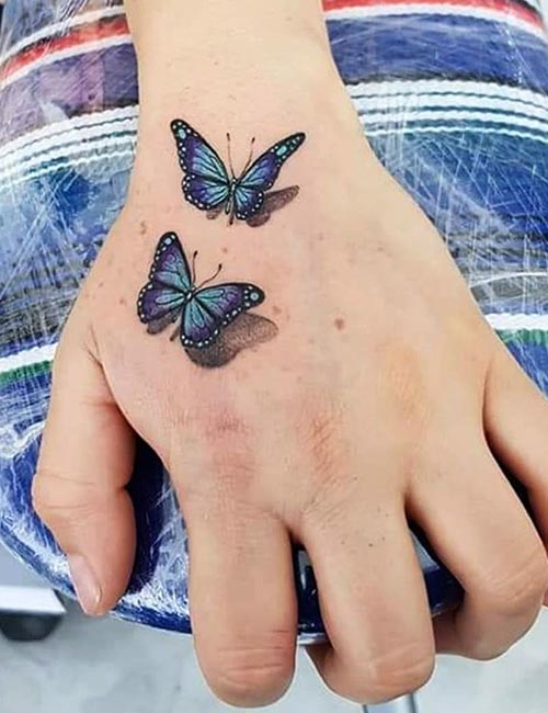 Butterfly 3D Tattoo On Hand