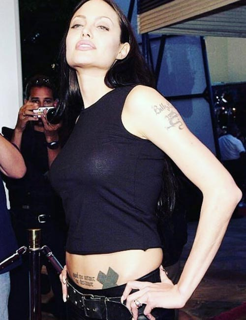 Angelina Jolie's Cross Tattoo On Shoulder