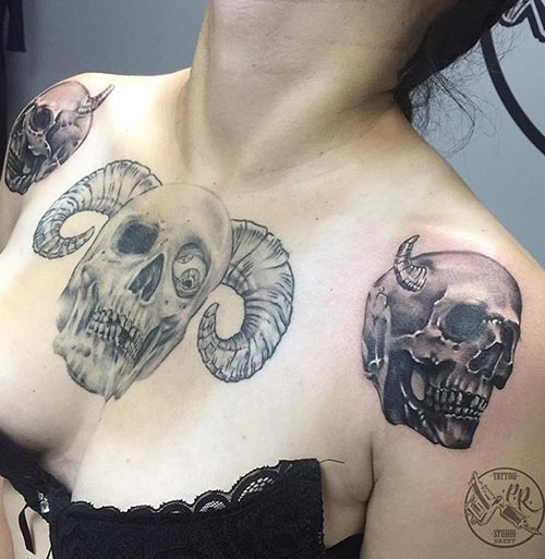Black And White Skull Tattoo Design