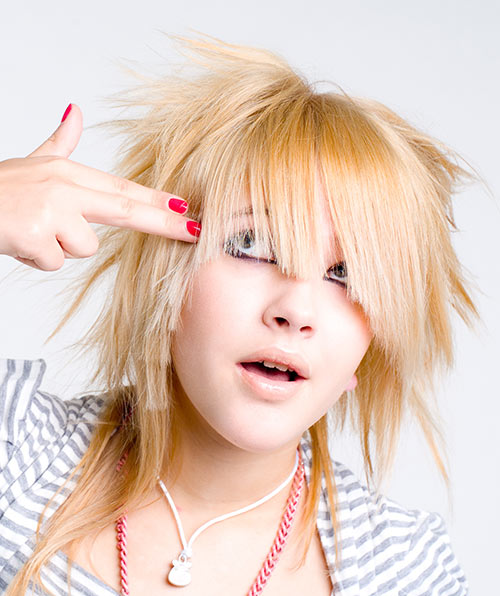 Blond Layered Emo Hairdo With Spikes