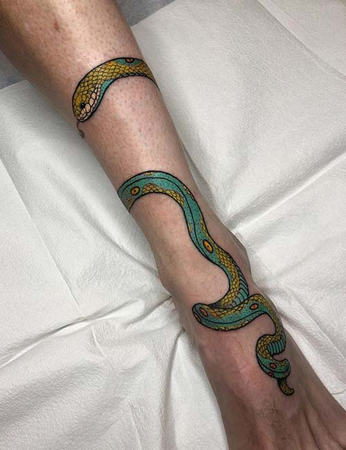 Bold Snake Ankle Tattoo